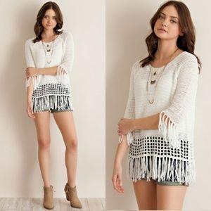 🦙FINAL PRICE🦙 NWT~ Boutique Boho Fringe Sweater